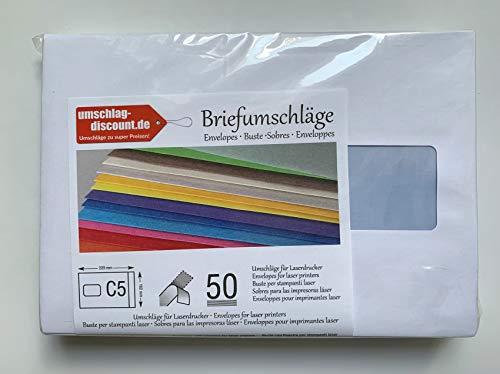 50 sobres con ventana, C5 = 229 x 162 mm, imprimibles con láser, ventanas resistentes al calor, cierre autoadhesivo con tira,sobres comerciales
