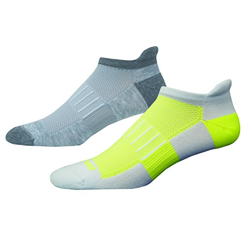 Brooks Laufsocke Sport-Socke Outdoor-Socke 2er-Pack Ghost Midweight Grau-Gelb - 741543-056 (42-45) (Running Brooks Socken)
