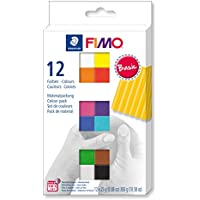 FIMO soft ofenhärtende Modelliermasse. Kartonetui mit 12 sortierten Basic-Farben.