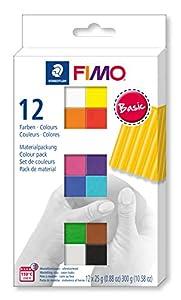 STAEDTLER 8023-C12-1. Pasta para modelar FIMO. 12 Pastillas de Colores de 25 Gramos. Pack Colores Básicos.