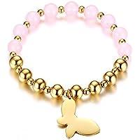 OMZBM Perlen Armbänder Für Frauen Howlite Edelstahl Schmetterling Fallumbau Stretch Armband Schmuck Rosa Für Mädchen 8Mm
