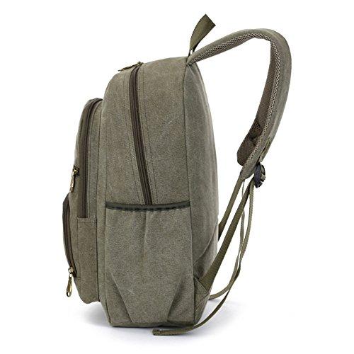 Canvas Tasche Männer Rucksack Fashion Student Tasche Freizeit Tasche 14 Zoll Computer Tasche Tasche Sporttasche, Schwarz Militär Grün