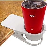 hollihi bebida copa Holder Clip–Mesa escritorio lado agua bebidas Soda té taza de café Holder Botella Vaso juego de taza, platito de café Diseño de Clip escritorio suministros organizador almacenamiento para oficina en casa