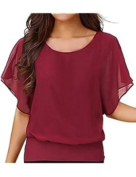 Culater Mujer de la Manga del Volante de la Gasa de las Tapas de la Blusa Camisa (XL, Rojo)