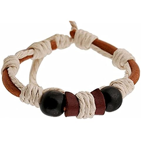 SaySure - Rope Bangle Bracelet Black beads Leather (Black Tortoise Charm)