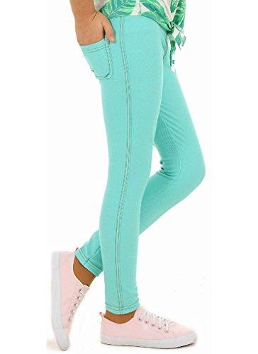 Mädchen Leggings Leggins Jeans-Optik Lang hk279 128 Minze