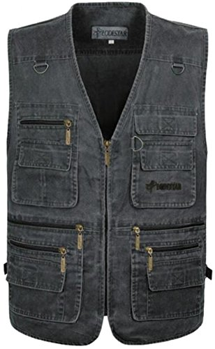 JZWXX Hommes Coton Militaire Bomber Relaxed Distressed multi-pocket outdoor travel Vest Sports Jacket FRp08 Gris