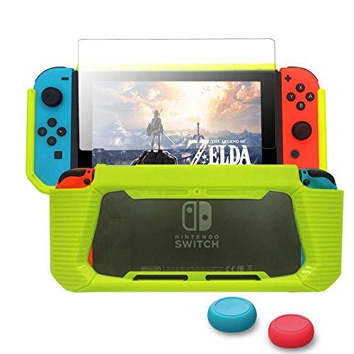 leegoal Switch Hülle mit Displayschutzfolie, Switch Case Protector TPU Schutzhülle Heavy Duty Cover Case für Nintendo Switch mit Stoßdämpfung und Anti-Scratch Green+Clear - Green-screen-geräte