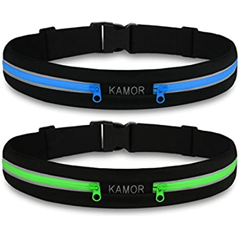 [2 Pack] Kamor® Marsupio da running/ superior water resistant Running Belts / Runners Belt / (Max Gear Bottiglia Pouch)