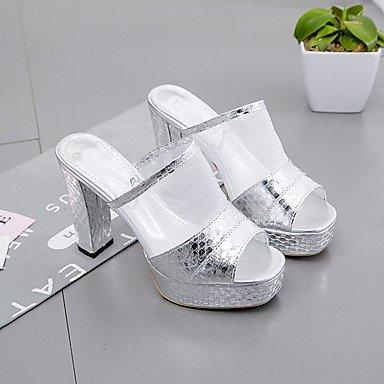 pwne Sandales Femmes Chaussures Club Robe Printemps Été Pu Talon Occasionnels Argent Or 4In-4 3/4 US7.5 / EU38 / UK5.5 / CN38