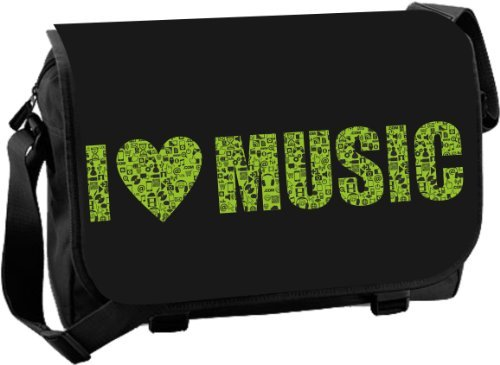 Messenger-Bag Schultasche Studententasche Schultertasche - I love Music (Über Messenger Klappe)