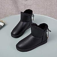 SKYROPNG Zapatos Invierno Mujer Botas De Nieve,Versión Coreana Negro Brillante Botines Cuero Botines Espesar Suave Caliente Botas De Algodón Cómodo Antideslizante Exterior Mujer 39