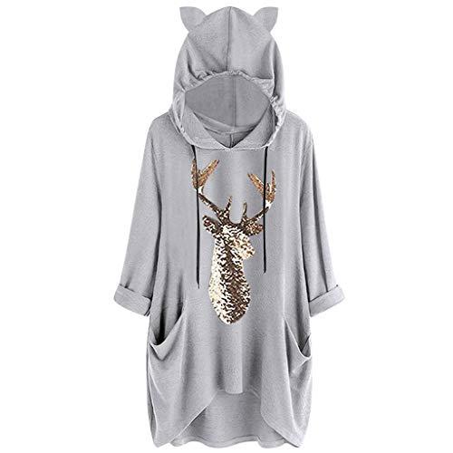 VEMOW Damenmode Tasche Lose Kleid Damen Rundhalsausschnitt beiläufige Tägliche Lange Tops Kleid Plus Größe(Z4-Grau, 48 DE/XL CN)