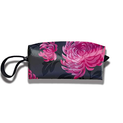 Red and Black Floral Print Elegant Cosmetic Pouch Bag Cool Makeup Junkie Bags Travel Cosmetic Bag Pouch with Zipper Medium Drawstring Pouch