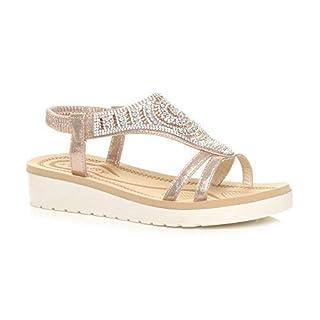 Ajvani Womens Ladies Low Wedge Heel Flatform Diamante t-bar Slingback Sandals , 8 UK, Rose Gold