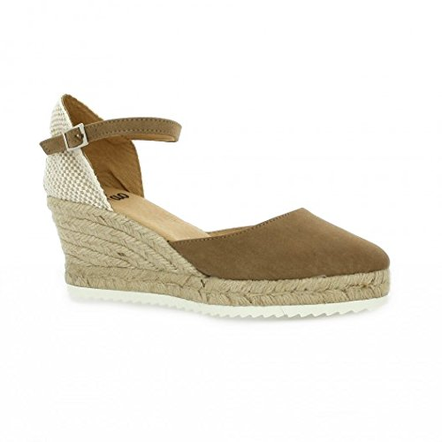 Pao Espadrille cuir velours camel Camel