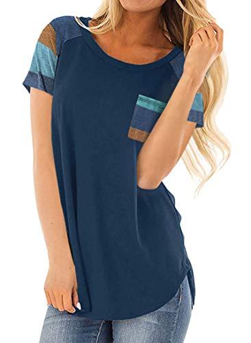 DanceWhale Damen T Shirt Rundhals Farbblock Kurzarm Oberteile Bluse Hemd Lose Sommer Tunika Top Marine XL -