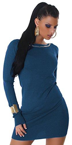 Jela London Damen Strickkleid & Pullover mit Zierkette Einheitsgröße (34-40), blau