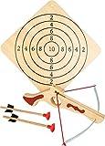 5036 Balestra sportiva compatta small foot in legno, incl. bersaglio e due frecce, articolo sportivo/gioco di tiro, a partire dai 5 anni