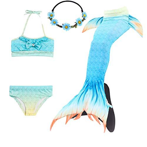 Le SSara 2018 M/ädchen Meerjungfrau Tails Bikini Badeanzug setzt 4 St/ücke Bademode mit Flosse f/ür Schwimmen Cosplay Partei