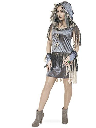 Zombiebraut Kleid mit Kapuze 36 Halloween Horror Zombie Kleid 1tlg. Pannesamt Damen Kostüm Horror Geist Zauberer Hexe
