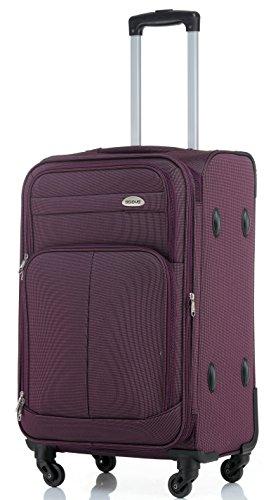 BEIBYE 4 Rollen Reisekoffer 3tlg.Stoffkoffer Handgepäck Kindergepäck Gepäck Koffer Trolley Set-XL-L-M (Violett, XL-Großer Koffer-74cm)