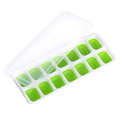 LQZ(TM) Eiswürfelform Silikon BPA Frei mit Deckel Eiswuefel Formen Behälter Eiswürfelbehälter (Grün)