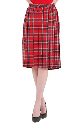 Kasten Faltenrock (Islander Fashions Damen Box Plated Tartan Print Rock M�dchen Gummizug Knie Lange Schule Rock Red Tartan 2X Large)