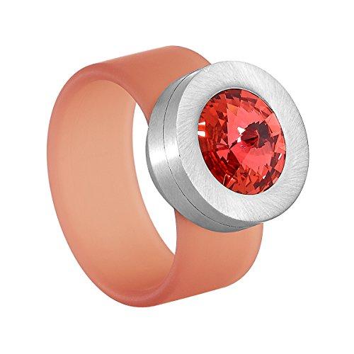 Heideman Ring Damen Colori orange aus Edelstahl Silber farbend und orange Damenring für Frauen mit Swarovski Stein Kristall (Orange Diamant-ringe Für Frauen)