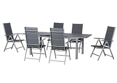 7-teilige Luxus Aluminium Padded Textilen Gartenmöbelgruppe 'Mesa' , 6 Klappsessel 'Bolero gepolstert' und ein Ausziehtisch 'Miros' 180/240x90 mit Spraystone Platte, silber