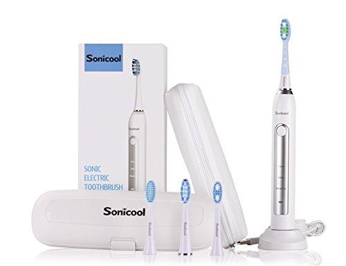 Elektrische Zahnbürste 3 Bürsten Funktionen und 4 Ersatz Bürstenköpfen mit Schall-Technologie USB Aufladen Zahnbürste IPX7 Wasserdicht 2 Minuten Timer von Sonicool (Zahnbürste Weiß)