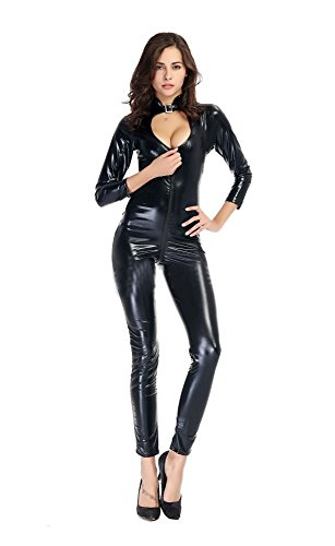 Fashion Queen Catwoman tuta elasticizzato da donna Cosplay Costume feste Outfit Tight Low Cut Body Black