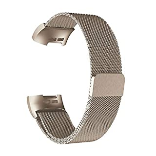 Fitbit Charge 3 Smart Uhr Armband für Herren Damen,Mode Uhr Sportuhr Milanese Edelstahl Uhrenarmband Handschlaufe Band Bügel für Fitbit Charge 3 (Groß) (Khaki)
