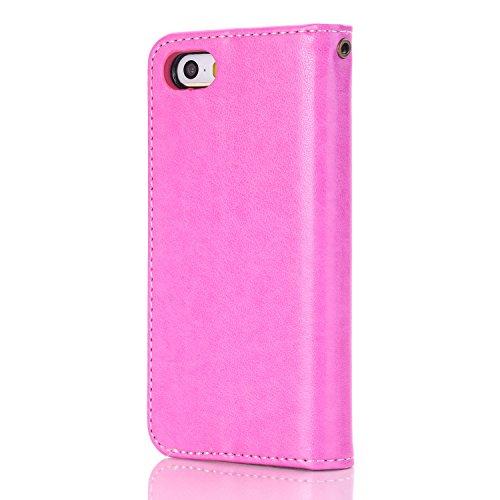 Migliore Choise Flip Case per iPhone 5& 5S & SE Rose in rilievo in pelle PU portafoglio Shell folio standabdeckung w titolare in chiusura magnetica regalo perfetto Rose
