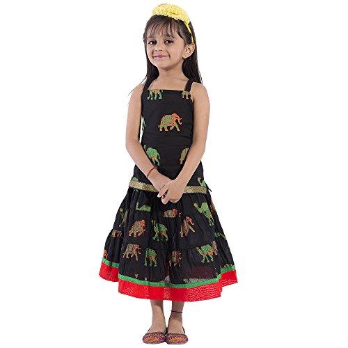 Disha Girls Lehenga Choli Ethnic Wear Animal Print Ghagra Choli (Black, 12-18...