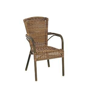 Greemotion chaise de jardin bistrot laos marron chaise - Chaise jardin resine tressee ...