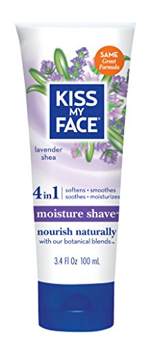 Kiss My Face Moisture Shave Shaving Cream, Lavender and Shea Shaving Soap, 3.4 oz Travel Size