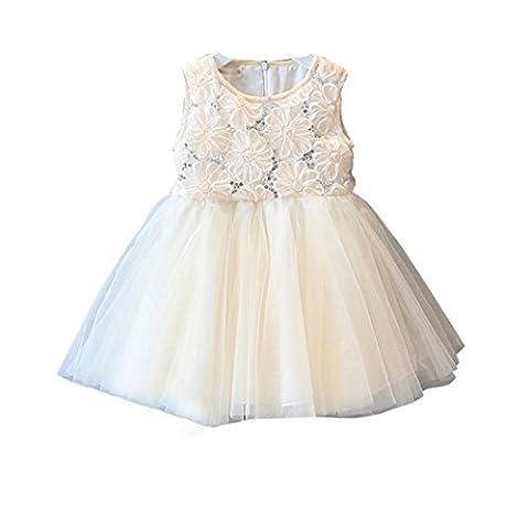 FEITONG Belle Enfant Filles Princesse Rose Sequin Lace Tutu Robe