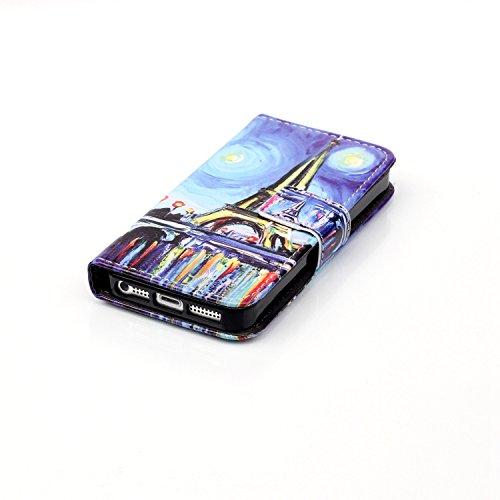 Feeltech IPhone SE 5 5S Coque [Free Stylet] Book Fonction support Style Clip Portable de Protection Folio Couverture TPU Silicone Souple Fonction Anti-poussière Stand Magnétique Porte Fentes Pour Cart La tour