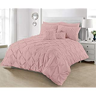 London.bedding @ DESIGNER ALFORD/PINTUCK WHITE_BLACK_CREAM_LATTE/ MOCHA_GREY/SILVER_PINK_ LUXURY DUVET QUILT COVER SET WITH PILLOW CASES (King, Soft - Pink)