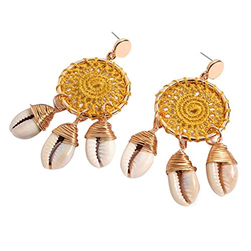 UINGKID Damen Ohrringe Mode Ohrstecker Vintage Böhmische Conch Rattan handgefertigte Dreamcatcher Schmuck (Spinning Ring Gear)