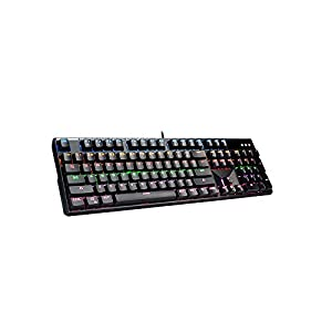 Wuzhongdian Gaming-Tastatur, Regenbogen-Hintergrundbeleuchtung, mit soliden Gerüst und Anti-Rutsch-Pads, mit 104 Tasten, aus Metall