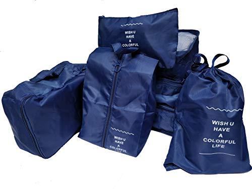 Kompressions-Reisepackwürfel, 7-teiliges Gepäck-Organizer-Set mit Schuhtasche & Kulturbeutel & Wäschesäckchen - Ziel Kulturbeutel