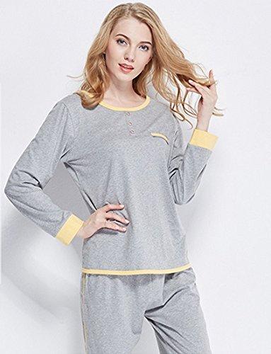 Automne coton à manches longues pyjama régulière simple couleur unie à manches longues pantalons chandail coton occasionnel pyjama pyjama costume ( couleur : Gray , taille : XXL ) Gray