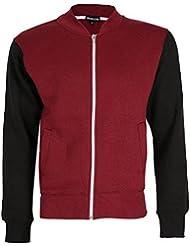 New Mens Round Neck Zip Up Fleece Top Bomber Biker Zipper Casual Sweatshirt