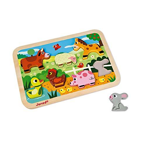 Janod - J07055 - Chunky Puzzle 7 pièces - Ferme (bois)