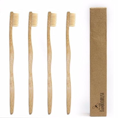 beeclean bamboobrush Set in 2oekologischen mano di spazzolini da denti per adulti è realizzato in legno di bambù con medio molle della Natura di setole in der biodegradabili Confezione. VEGAN e 100% senza plastica e PBA libero. 100% bambù dal gambo a setole