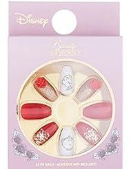 Primark Disney Beauty And The Beast False Nails 24 Pack chip Mrs Potts Rose!!