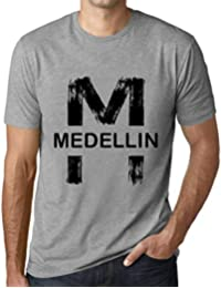 Hombre Camiseta Vintage T-Shirt Gráfico Letter M Countries and Cities Medellin Gris Moteado