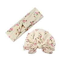‏‪2pcs Mom Kids Bohemia Floral Print Hairband Turban Knot Rabbit Ears Headband Mother Baby Elastic Headwear Set Rice white‬‏